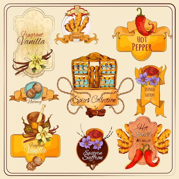 Spices vintage labels Free Vector