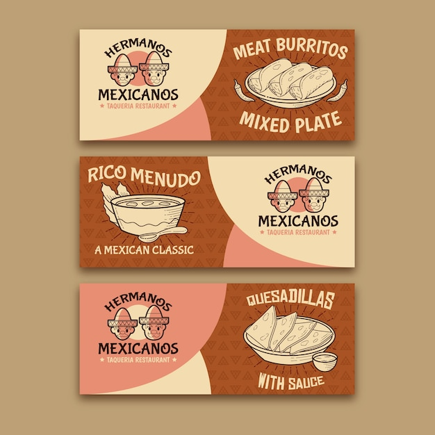 Spicy burritos mexican food banner Free Vector