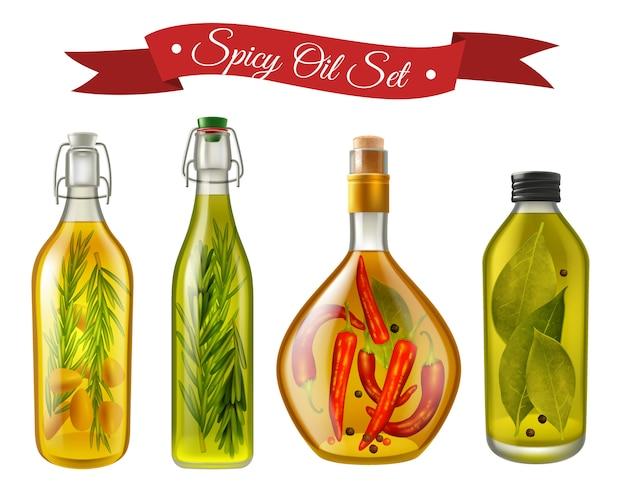 Set realistico di oli piccanti Vettore gratuito