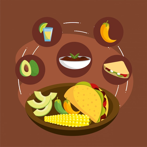 Spicy sauce with mexican tacos food Premium Vector