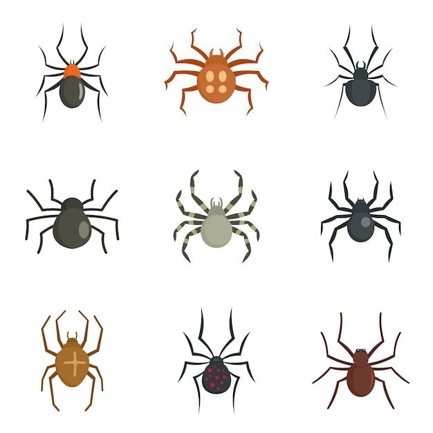 Spider bug caterpillar icons set Premium Vector