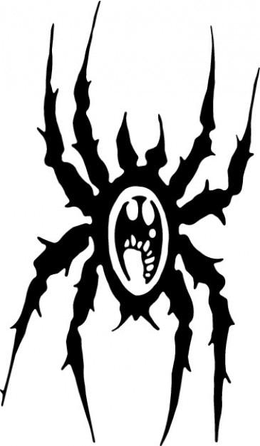 Spider cartoon black icon vector Free Vector
