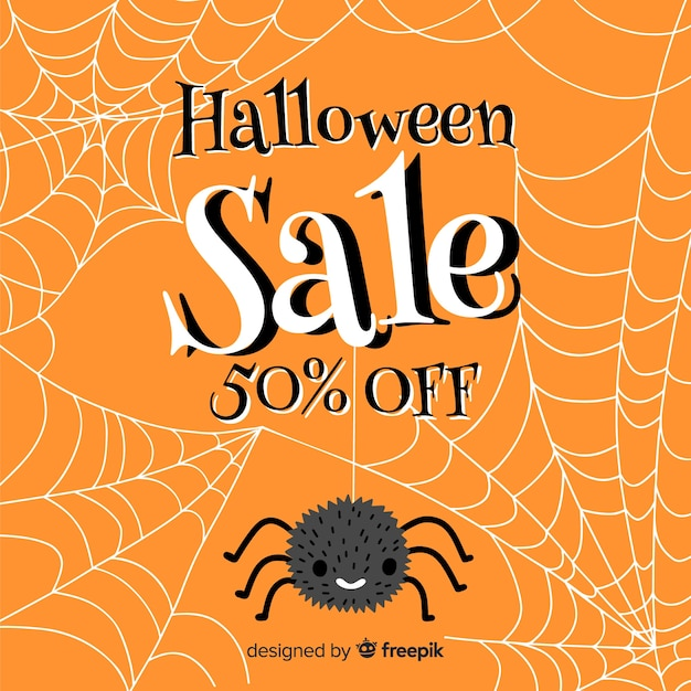 Spider and cobweb halloween sale Free Vector