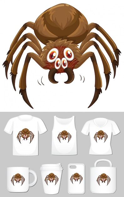 Spider on different types of product template Free Vector