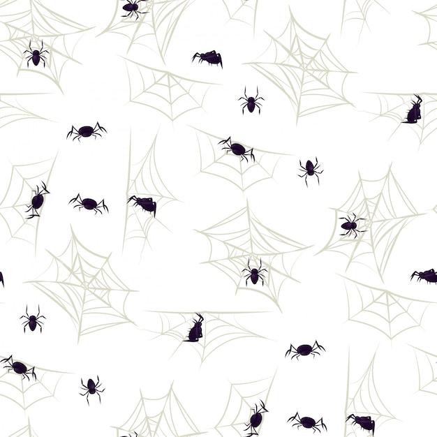 Spider halloween seamless pattern party cobweb. Premium Vector