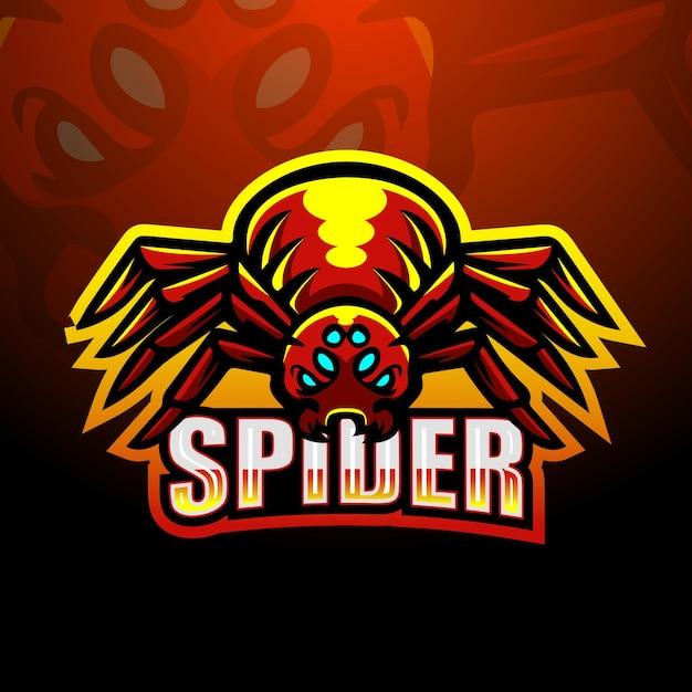 거미 마스코트 로고 디자인 프리미엄 벡터