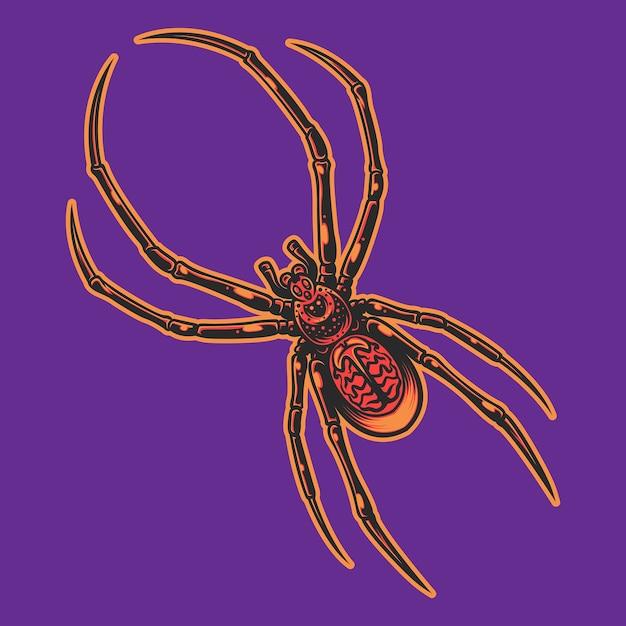 Красный паук, изолированные на фиолетовом фоне Premium векторы