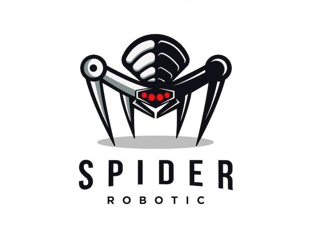 スパイダーロボットロゴマスコット Premiumベクター
