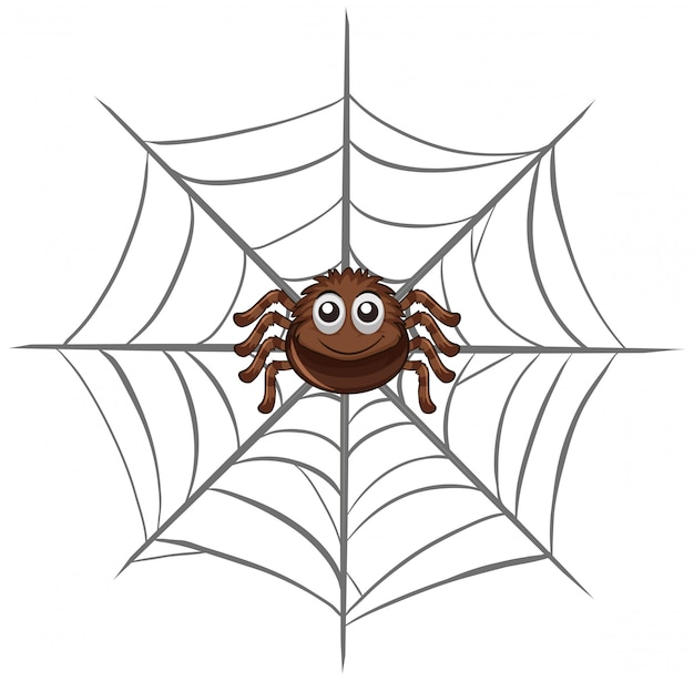 Spider on spider web Free Vector