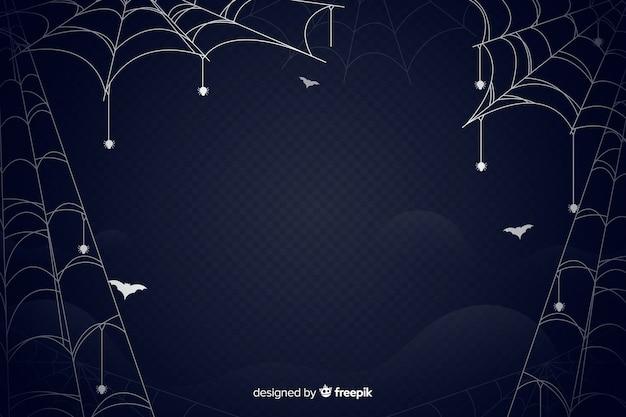 Spider web halloween background flat design Free Vector