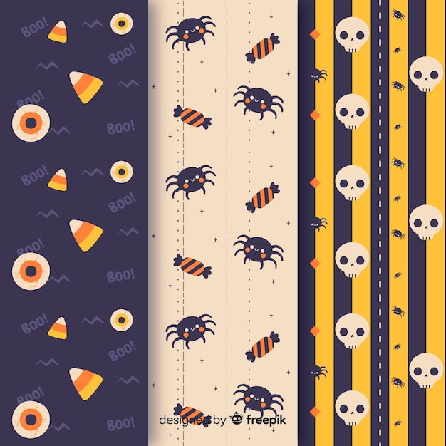 Spiders and skulls seamless halloween pattern Free Vector