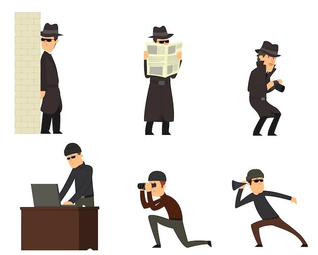 Шпионы, изолированные на белом Premium векторы