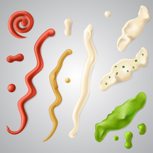 Spilled strips of different sauces. Premium Vector