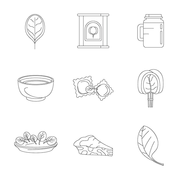 Spinach leaves vegetables icons set Premium Vector
