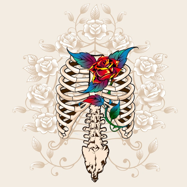 Spine bones and roses print Premium Vector