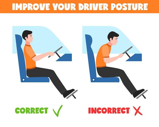 Spine postures for driver illustration Free Vector