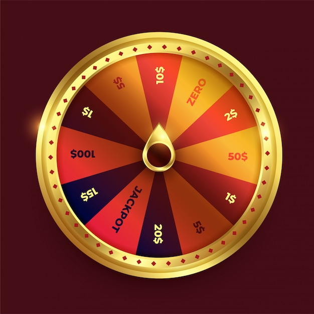 Spinning fortune wheel in shine golden color Free Vector