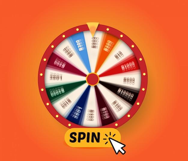 Spinning fortune wheel с вращающейся кнопкой для активации вращения, графика для призовой игры, веб-азартные игры Premium векторы