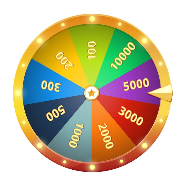 Spinning wheel with prizes. game roulette. vector illustration isolate. fortune gambling wheel Premium Vector
