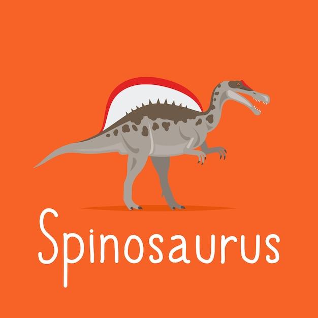 Spinosaurus dinosaur colorful card Premium Vector
