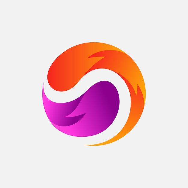 Spiral abstract logo design template Premium Vector