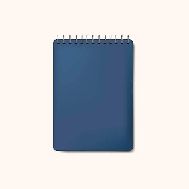 Spiral blue notebook mockup isolated vector Free Vector
