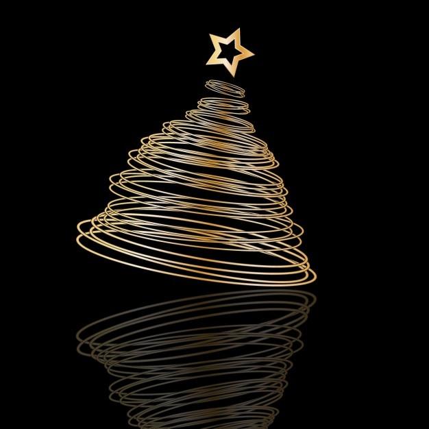 spiral christmas tree on black background vector free. Black Bedroom Furniture Sets. Home Design Ideas