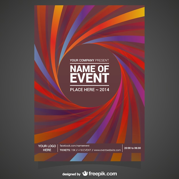 spiral event poster in red tones vector free download