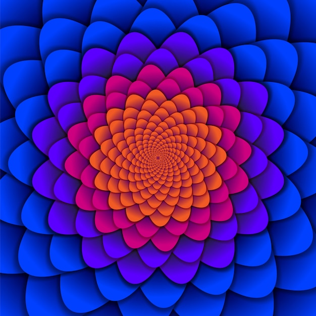 Spiral flower pattern in red and blue Premium Vector