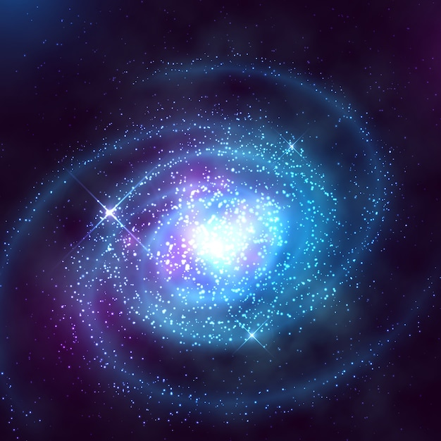 Spiral galaxy in outer space with starry blue sky vector illustration Premium Vector
