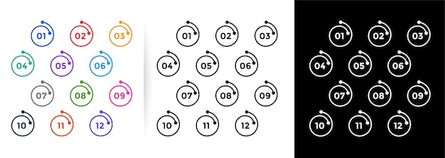 Spiral line style  bullet points numbers from one to twelve Free Vector