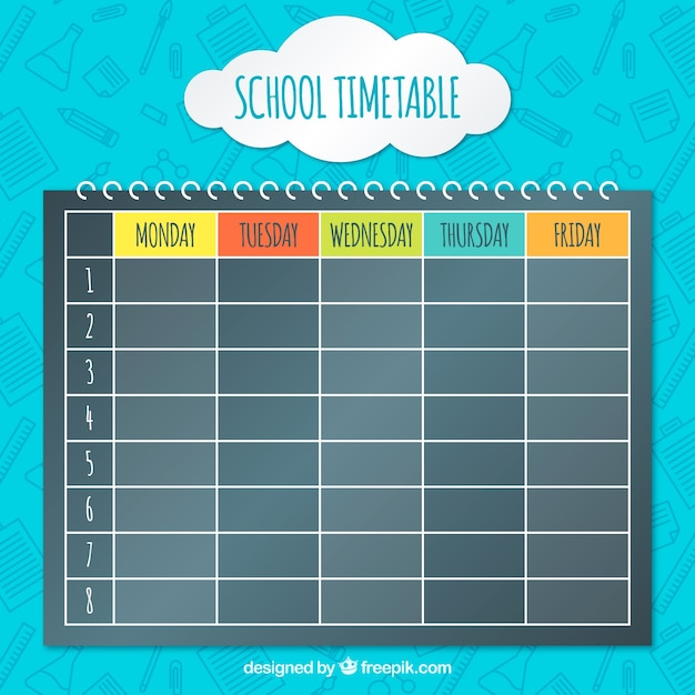 Spiral notebook with school timetable