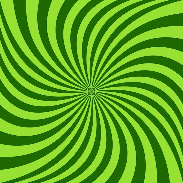 Spiral ray background - vector design from green rotated rays Free Vector