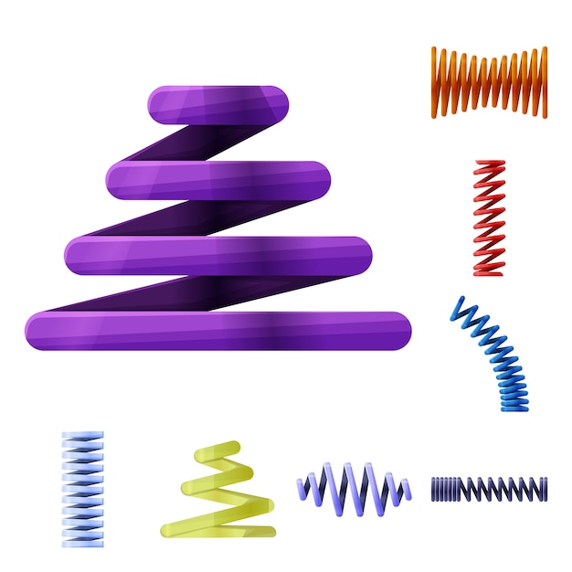 Spiral spring cartoon elements. set elements of flexible coils. isolated illustration of spiral coils. Premium Vector