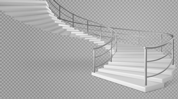 Spiral staircase white stairs with railings Free Vector