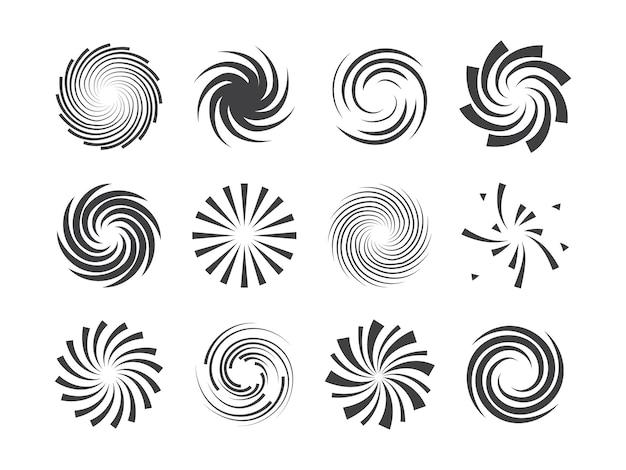 Spiral and swirl motion twisting circles  element set Premium Vector