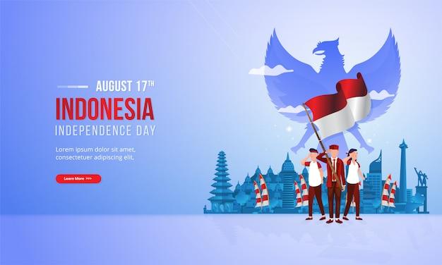 Дух патриотизма молодежи с красно-белой иллюстрацией флага для концепции национального дня индонезии Premium векторы