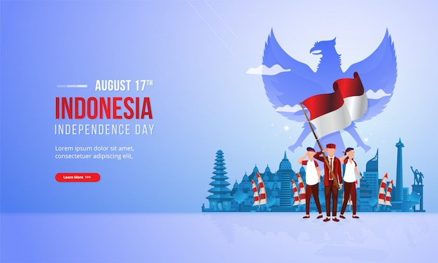 Spirit of youth patriotism with red and white flag illustration for indonesian national day concept Premium Vector