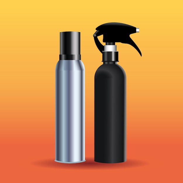 Всплеск бутылки парикмахерские инструменты оборудование значки иллюстрации Premium векторы