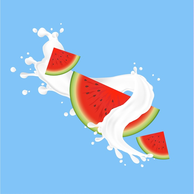 Splash of fresh milk with watermelon Premium Vector