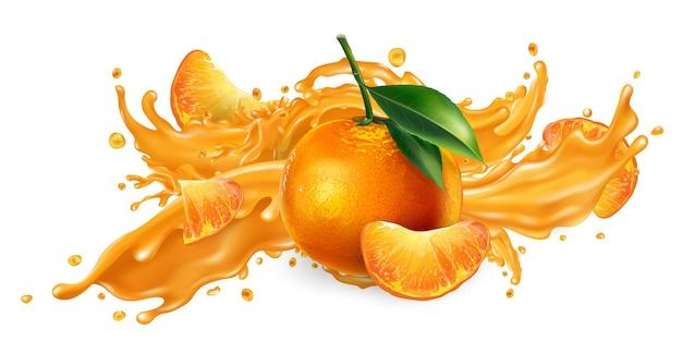 Всплеск фруктового сока и свежих мандаринов. Premium векторы