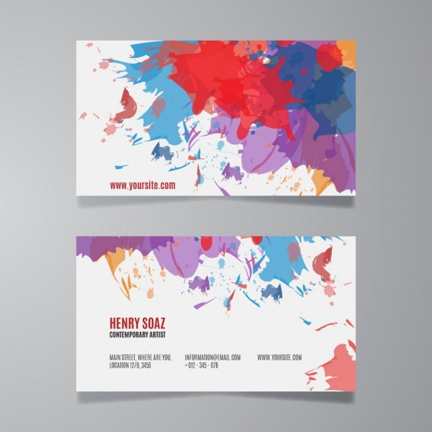 Splash Paint Business Card Template Vector Free Download - Painter business card template
