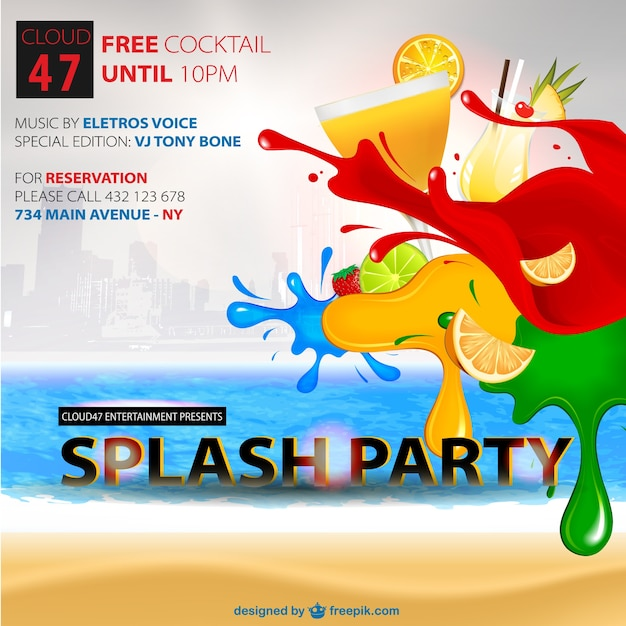 Splash party poster Free Vector