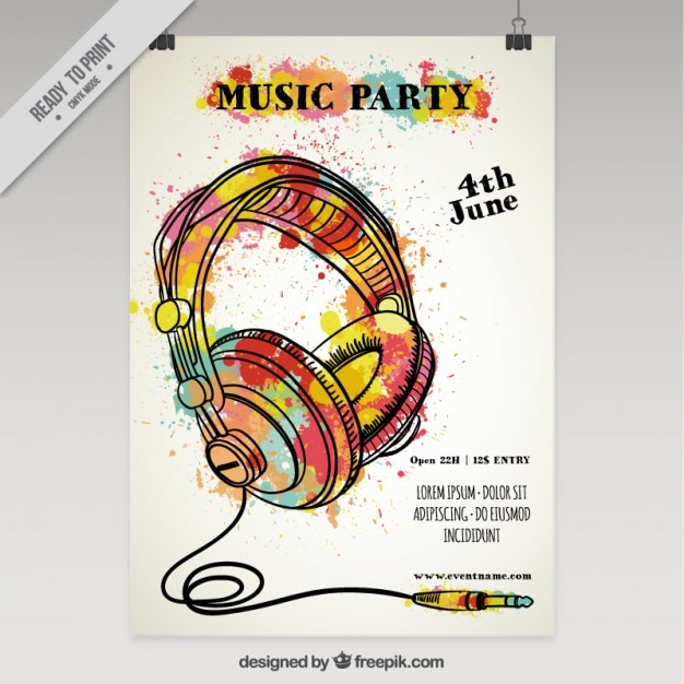Splashed watercolor music party poster Free Vector