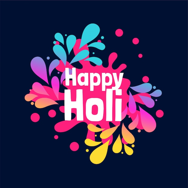 Splashes of colors for happy holi festival background Free Vector