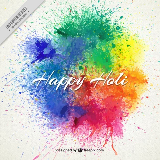 Splashes paint Happy Holi background Free Vector