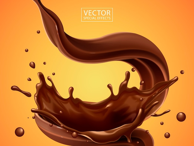 Splashg and whirl chocolate liquid for  uses isolated on warm background