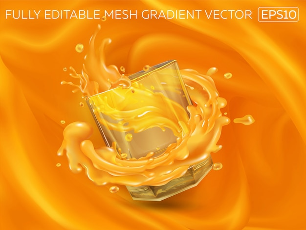 Splashing juice in a glass on an orange background. Premium Vector