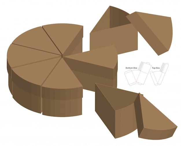 Split cake style box packaging die cut template design. 3d mock-up Premium Vector
