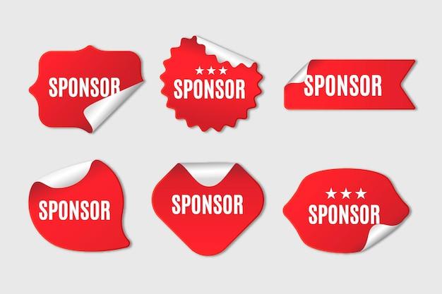 Collezione di adesivi sponsor Vettore gratuito